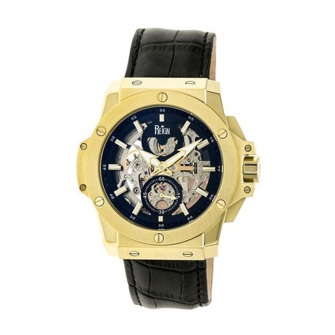 Reign Commodus Automatic Skeleton Leather-Band Watch - Gold/Black REIRN4004