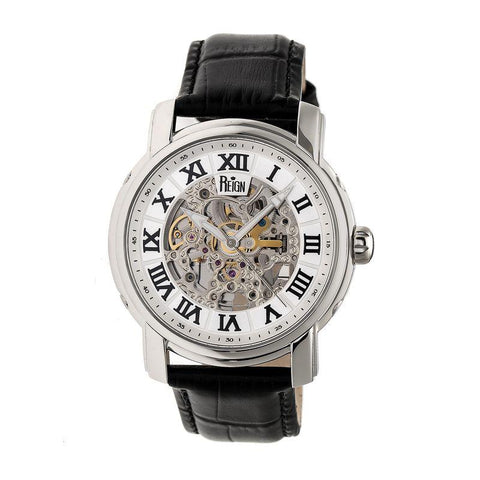 Reign Kahn Automatic Skeleton Leather-Band Watch - Silver REIRN4303