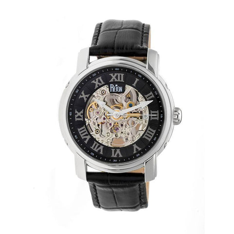 Reign Kahn Automatic Skeleton Leather-Band Watch - Silver/Black REIRN4304