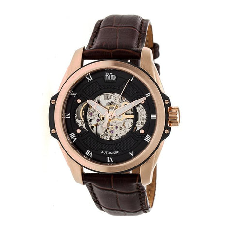 Reign Henley Automatic Semi-Skeleton Leather-Band Watch - Rose Gold/Brown REIRN4506