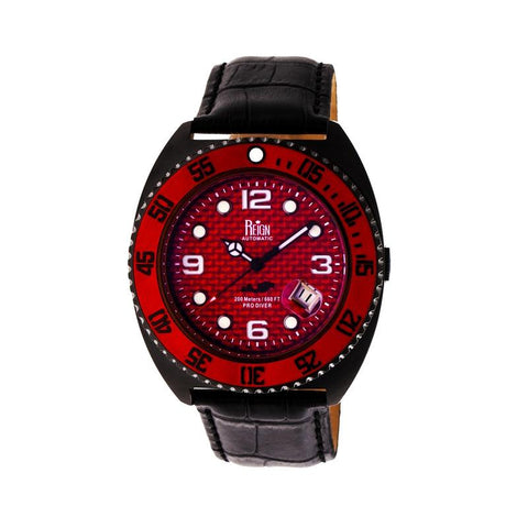 Reign Quentin Automatic Pro-Diver Leather-Band Watch w/Date - Black REIRN4907