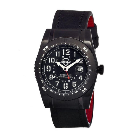 Shield Nuno Leather-Band Swiss Men's Diver Watch - Black SLDSH0104