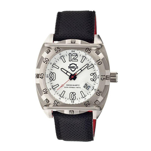 Shield Pilecki Leather-Band Swiss Mens Diver Watch - Silver/White SLDSH0601