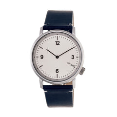 Simplify The 5500 Leather-Band Watch - Silver/Blue