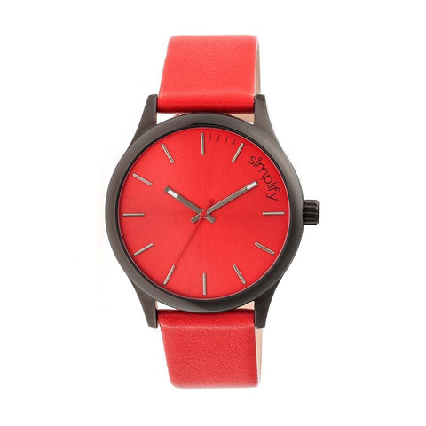 Simplify The 2400 Leather-Band Unisex Watch - Black/Red SIM2405
