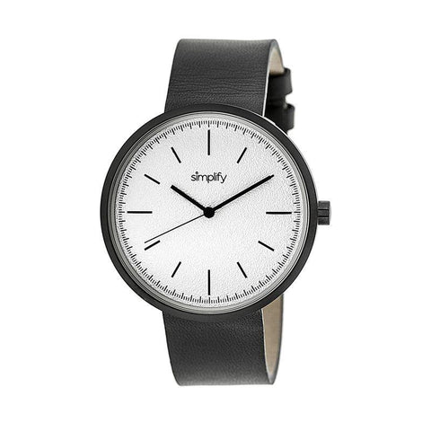 Simplify The 3000 Leather-Band Watch - Charcoal SIM3008