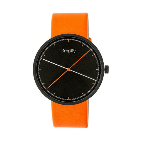 Simplify The 4100 Leather-Band Watch - Black/Orange SIM4103