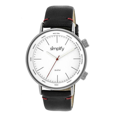 Simplify The 3300 Leather-Band Watch - Black/Silver SIM3301