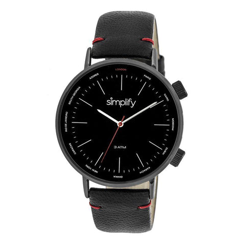 Simplify The 3300 Leather-Band Watch - Black SIM3306