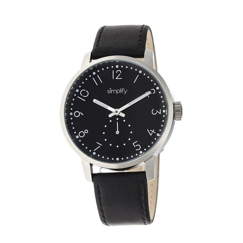 Simplify The 3400 Leather-Band Watch - Silver/Black SIM3402