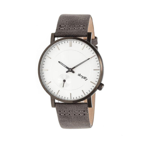 Simplify The 3600 Leather-Band Watch - Silver/Grey SIM3602