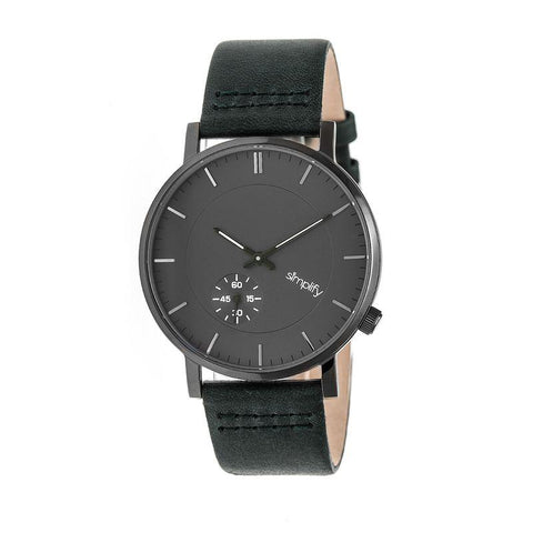 Simplify The 3600 Leather-Band Watch - Charcoal/Green SIM3606