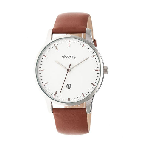 Simplify The 4300 Leather-Band Watch w/Date - Silver/Brown SIM4302
