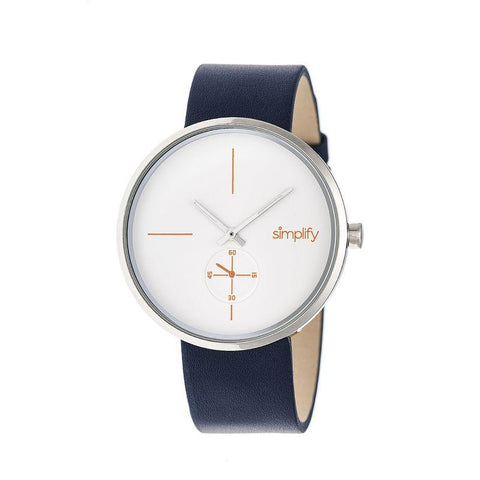 Simplify The 4400 Leather-Band Watch - Navy/Silver SIM4401