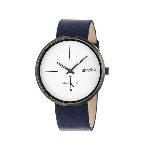 Simplify The 4400 Leather-Band Watch - Navy/Gunmetal SIM4403