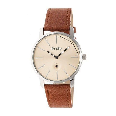 Simplify The 4700 Leather-Band Watch w/Date - Silver/Camel SIM4704