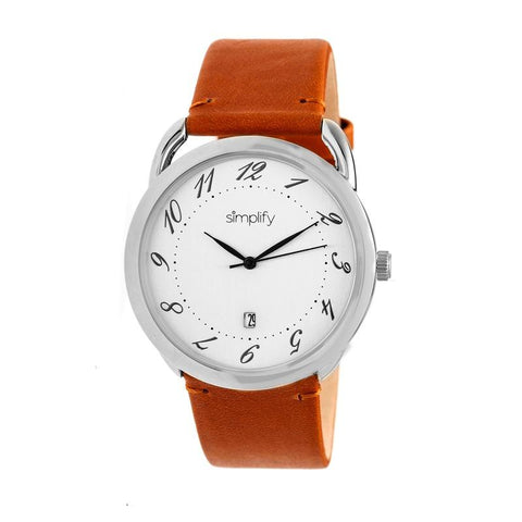 Simplify The 4900 Leather-Band Watch w/Date - Silver/Camel SIM4901