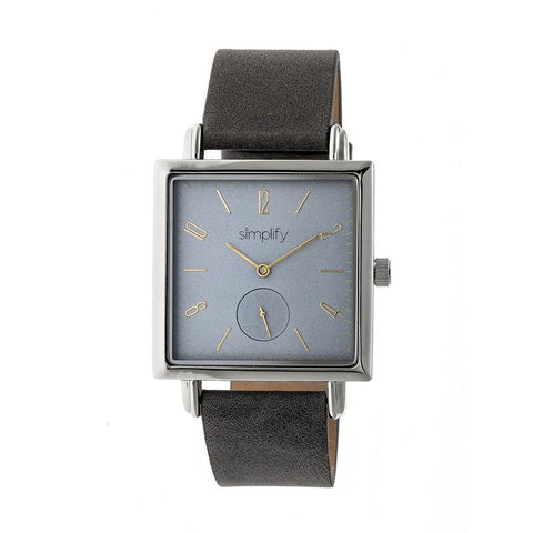 Simplify The 5000 Leather-Band Watch - Charcoal/Grey SIM5006