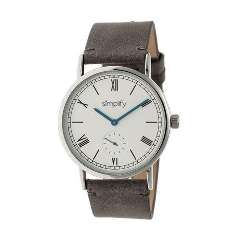 Simplify The 5100 Leather-Band Watch - Charcoal/White SIM5103
