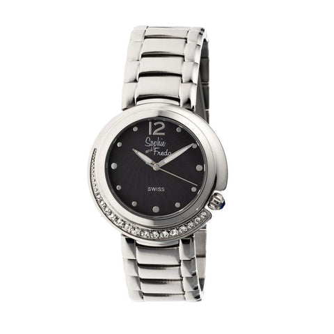 Sophie & Freda Lisbon Ladies Swiss Bracelet Watch - Silver/Black SAFSF1302
