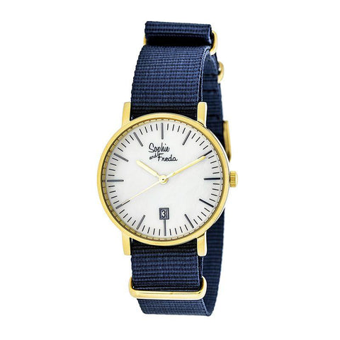 Sophie & Freda Nantucket Nylon-Band Ladies Watch - Gold/Navy SAFSF3304
