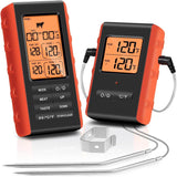 Wireless Digital BBQ Meat Thermometer, Dual Probes, Long Range, Instant Read, Large Backlit Screen