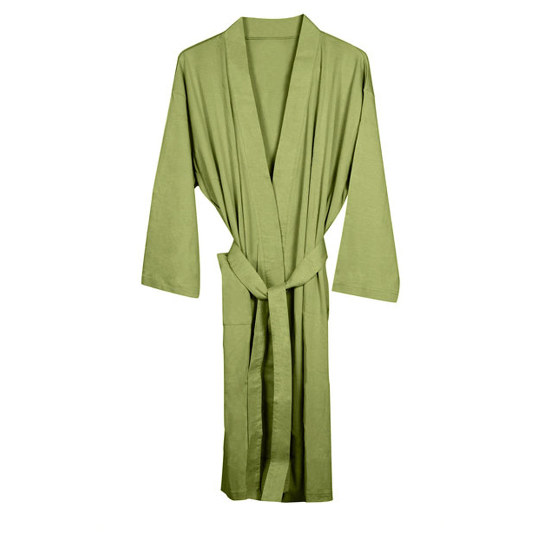 Organic Cotton Knitted Bathrobe - Sage