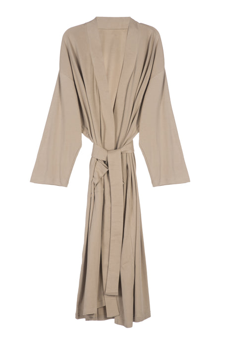 Organic Cotton Knitted Bathrobe - Sand