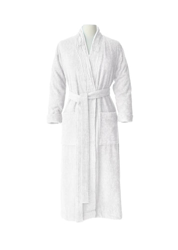 Pleated Terry Bathrobe - Pure White