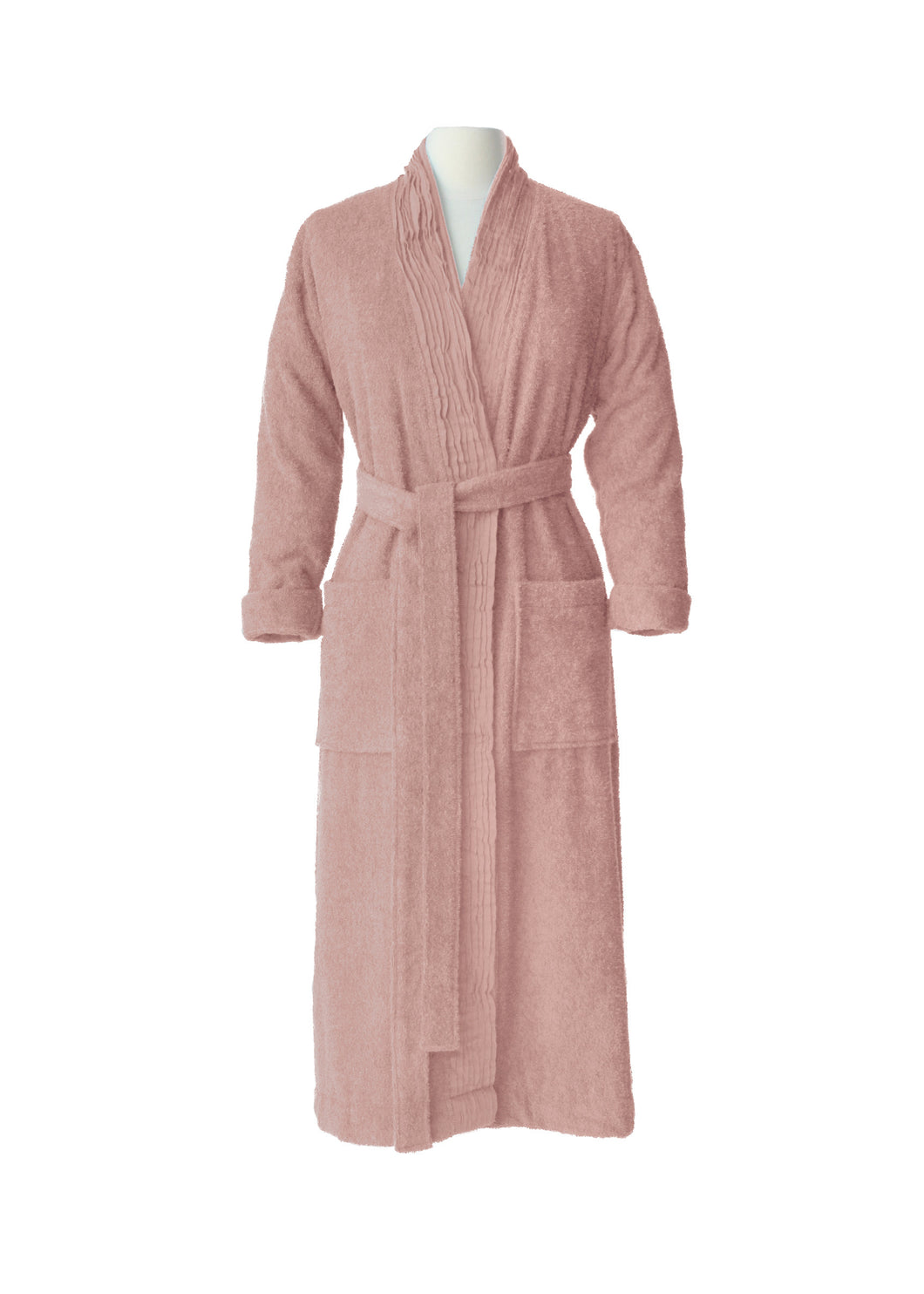 Pleated Terry Bathrobe - Dusty Rose
