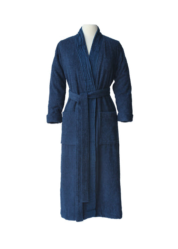 Pleated Terry Bathrobe - Marine Blue