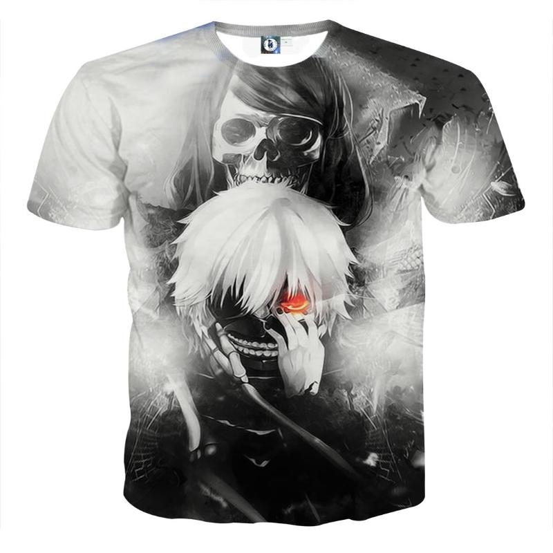 Black And White Cool Gothic Kaneki 3D Printed T-Shirts - Tokyo Ghoul