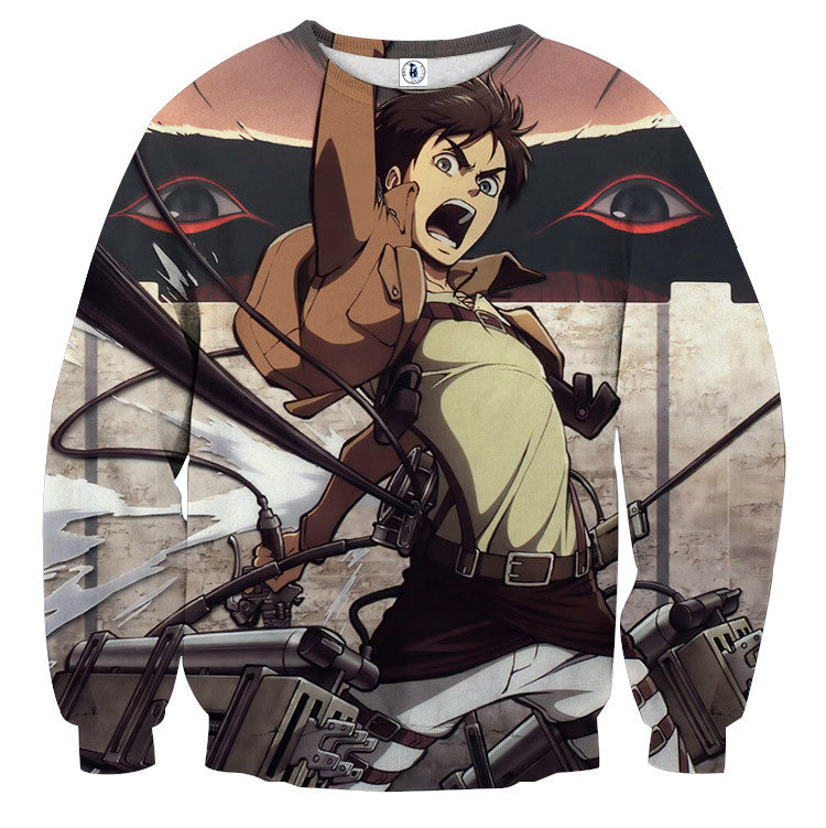AttackOnTitan Eren Fighting 3D Printed Sweatshirts