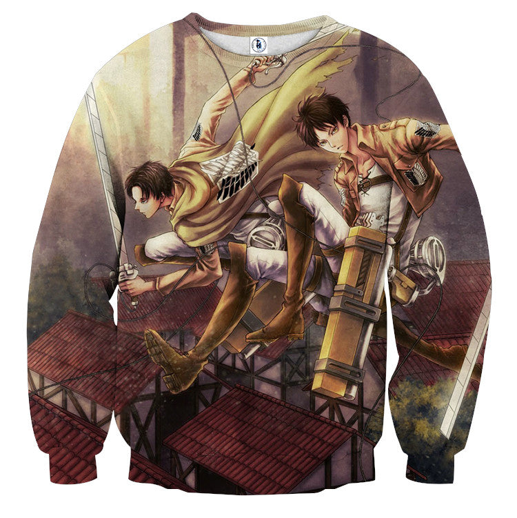 AttackOnTitan Levi and Eren 3D Printed Sweatshirts