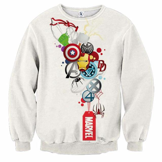 Avengers All Marvel White 3D Printed Sweatshirts