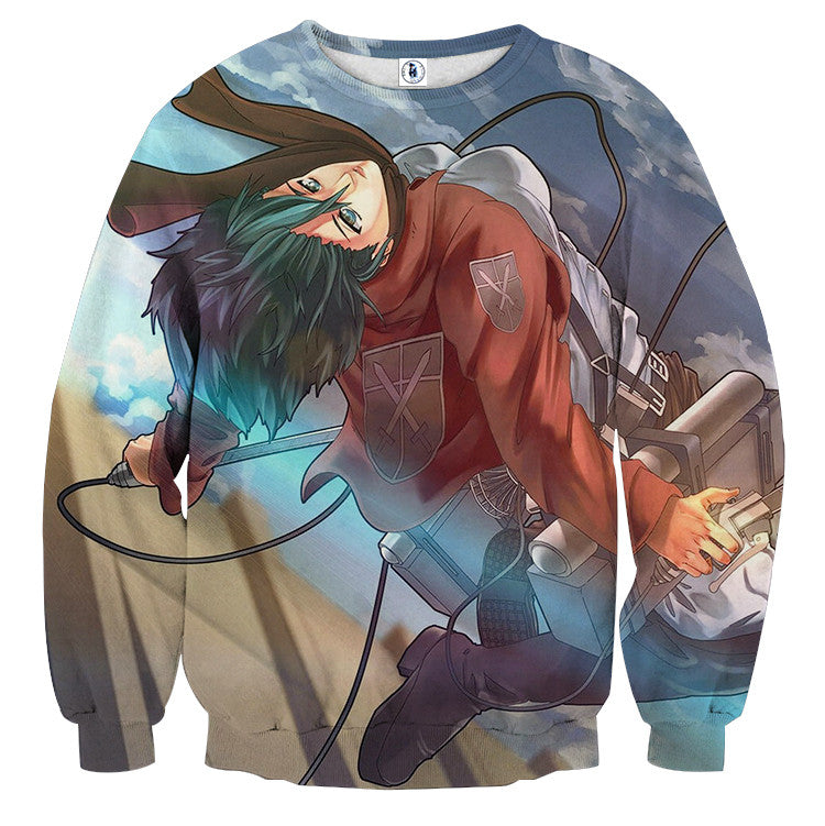 AttackOnTitan Mikasa Ackerman 3D Printed Sweatshirts