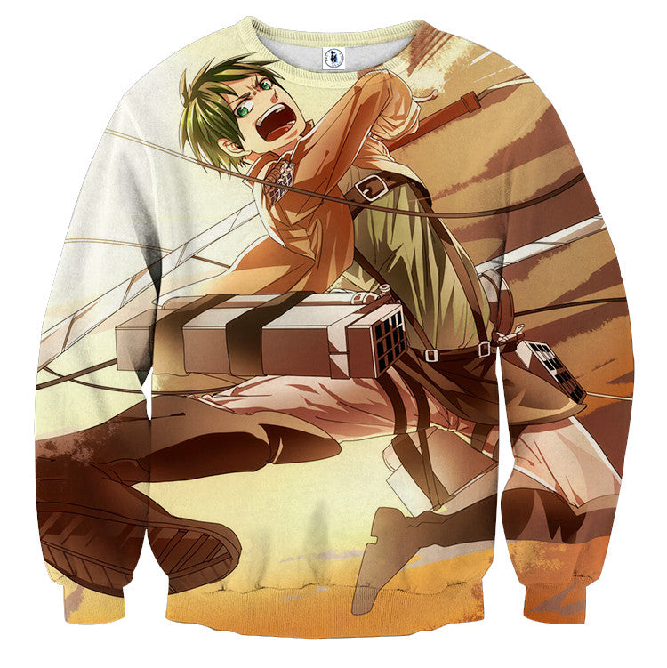 AttackOnTitan Fighting Eren 3D Printed Sweatshirts