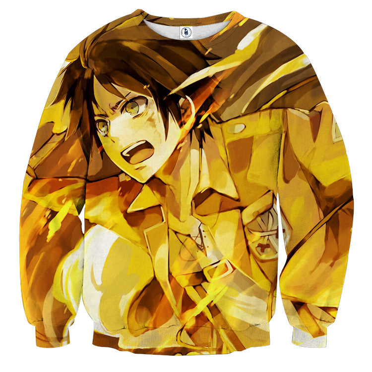 AttackOnTitan Eren Fire 3D Printed Sweatshirts