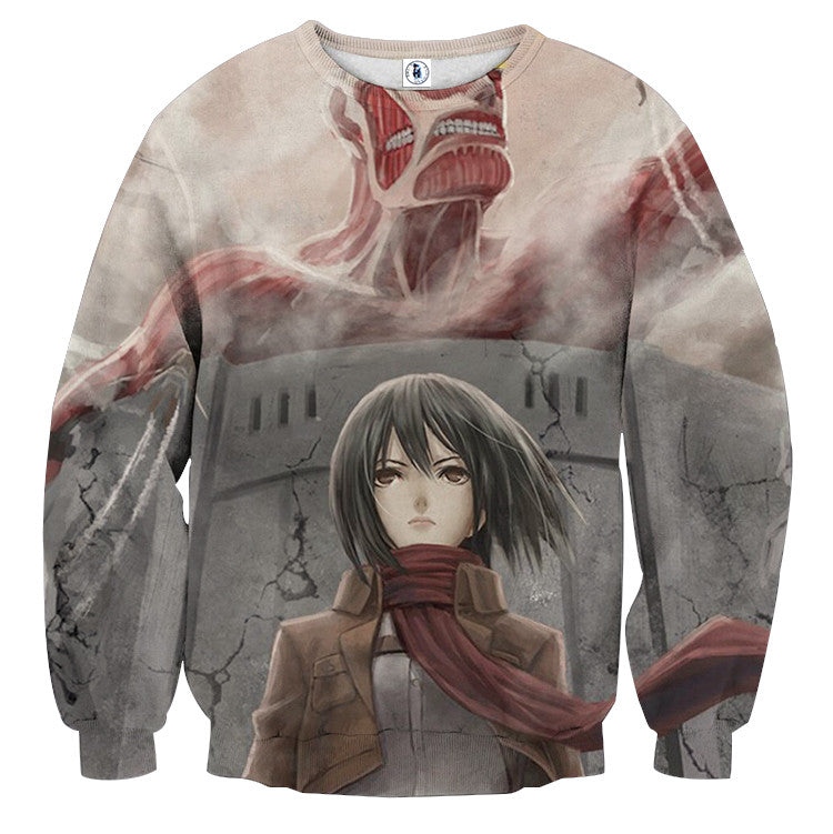 AttackOnTitan Mikasa Colossal 3D Printed Sweatshirts