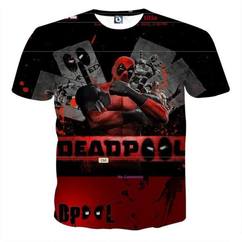 Black & Red Deadpool 3D Printed T-Shirt