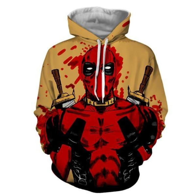 3D Printed Cool Art Blood Deadpool Hoodie