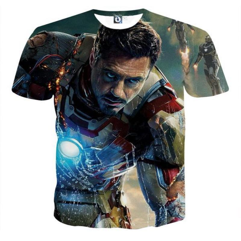 3D Printed Iron Man T Shirt Black & Blue Iron Man Tee