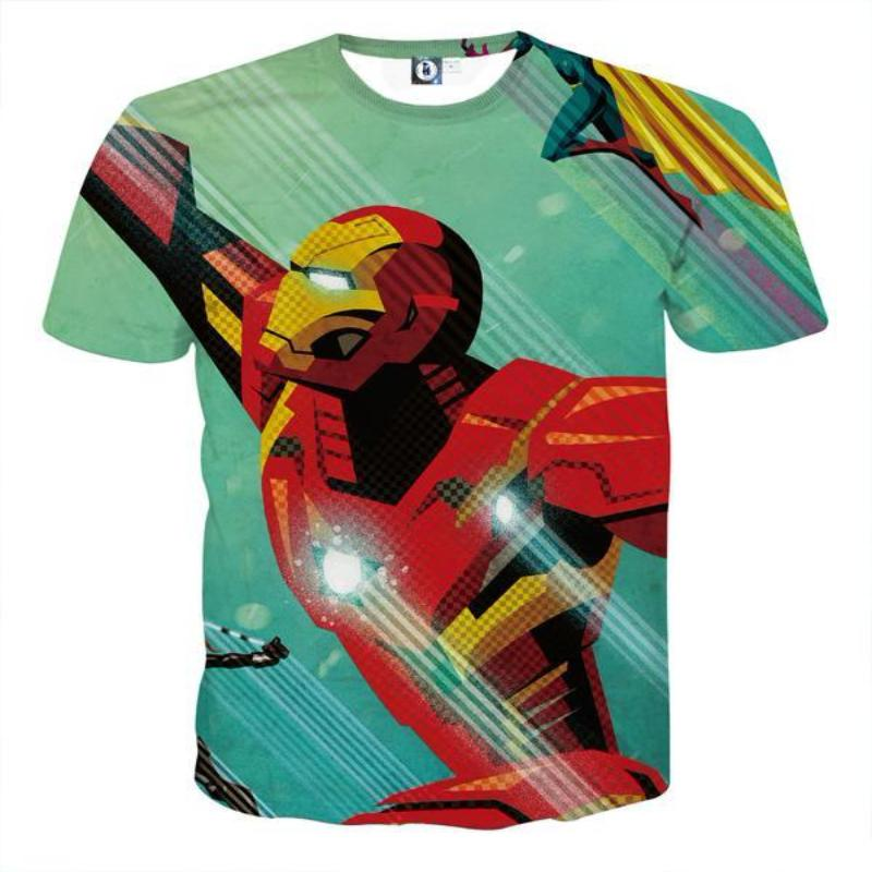3D Printed Iron Man T Shirt White & Black Iron Man Tee