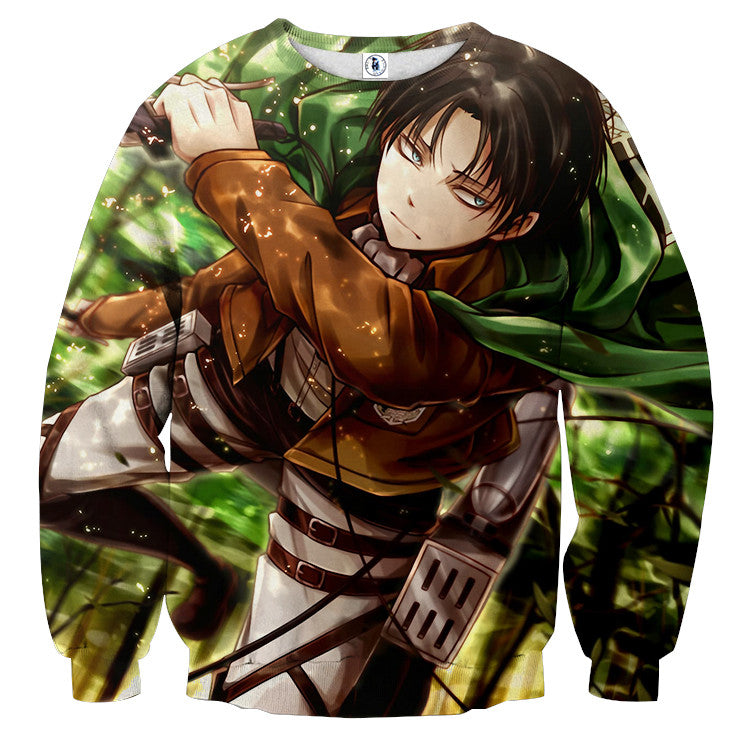 AttackOnTitan Levi Serious 3D Printed Sweatshirts
