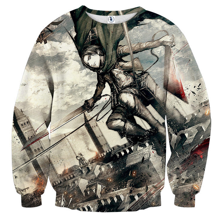 AttackOnTitan Fighting Levi 3D Printed Sweatshirts