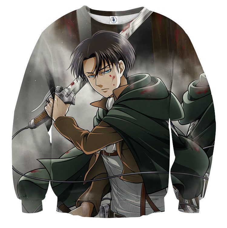 AttackOnTitan Levi with Blades 3D Printed Sweatshirts