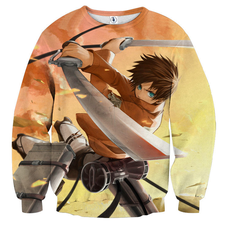 AttackOnTitan Eren with Blade 3D Printed Sweatshirts