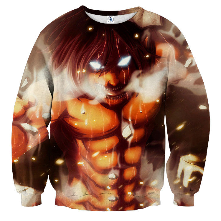 AttackOnTitan Eren Titan Attack 3D Printed Sweatshirts