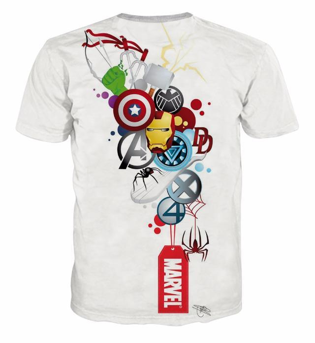 All Marvel Logo White 3D Printed T-Shirts