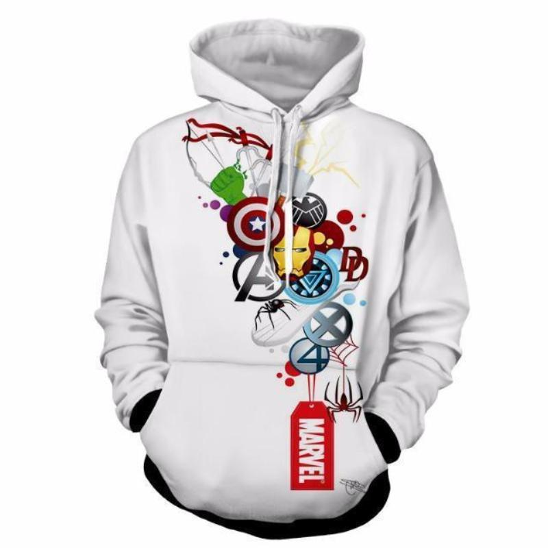 All Marvel White 3D Printed Hoodie